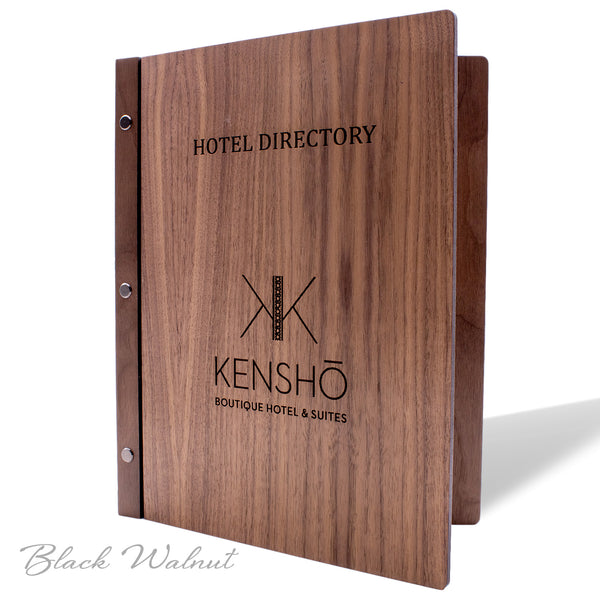 Screw Post Cover for Hotel Directory, In Room Dining, Compendium in Black Walnut