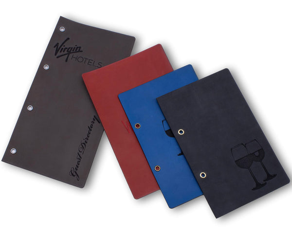 Menu Holder With Binder Ring Mechanism (& Optional Leather Menu Page Cover) - Woodberry Company