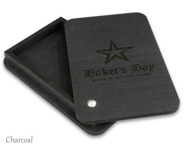 Black check presenter box with custom laser engraved logo