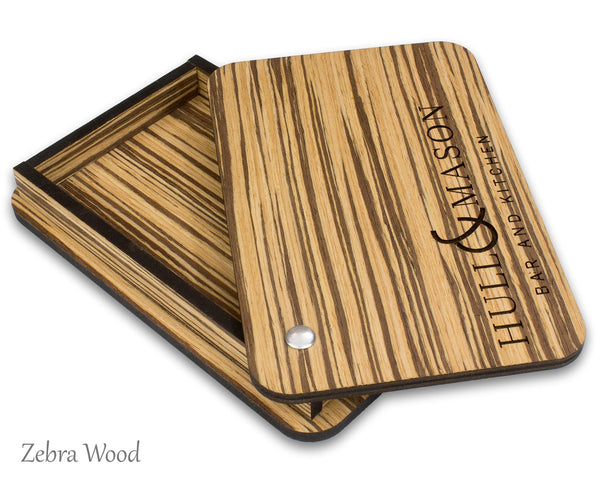Bamboo check presenter box with engraved logo