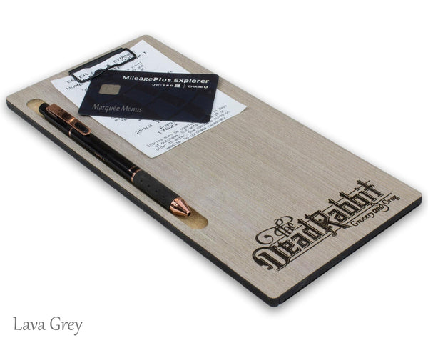 Custom check presenter in Lava Grey veneer with a small black clipboard clip and custom laser engraved logo at the bottom