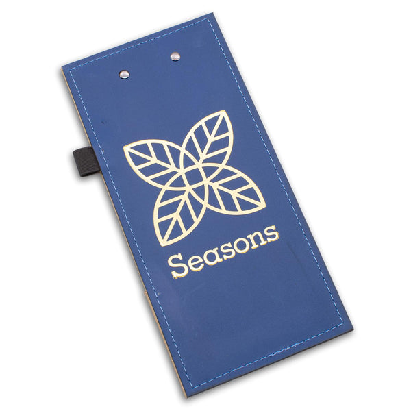 Leather check presenter with clip in blue leather