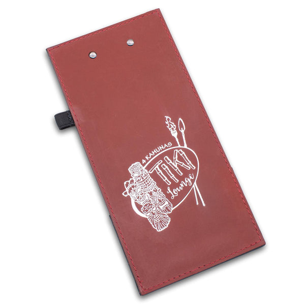 Leather check presenter with clip in red leather