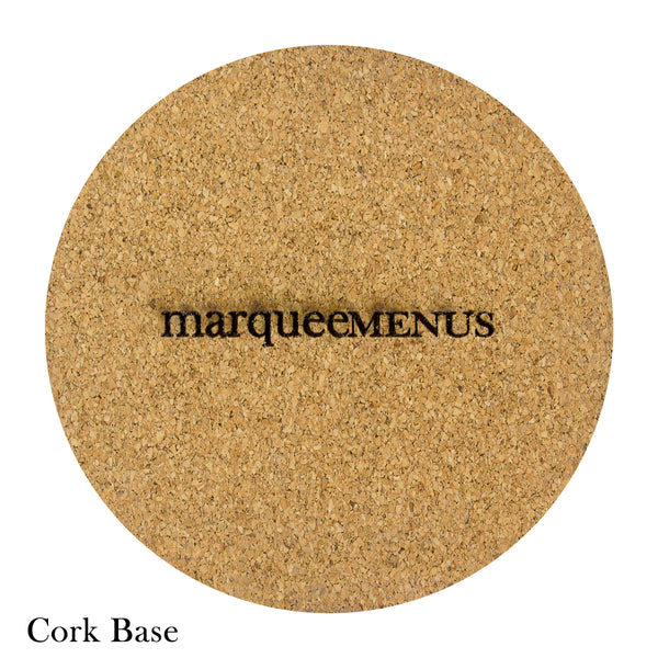 Cork base on round coaster with marquee menus logo