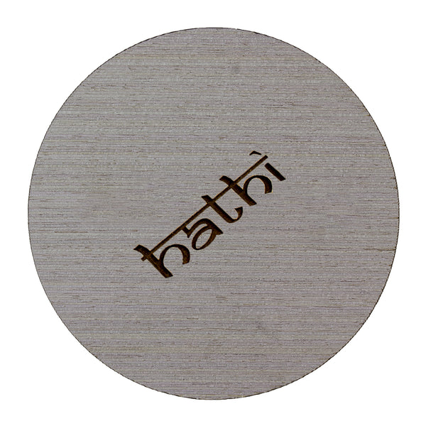 Round grey oak coaster with logo