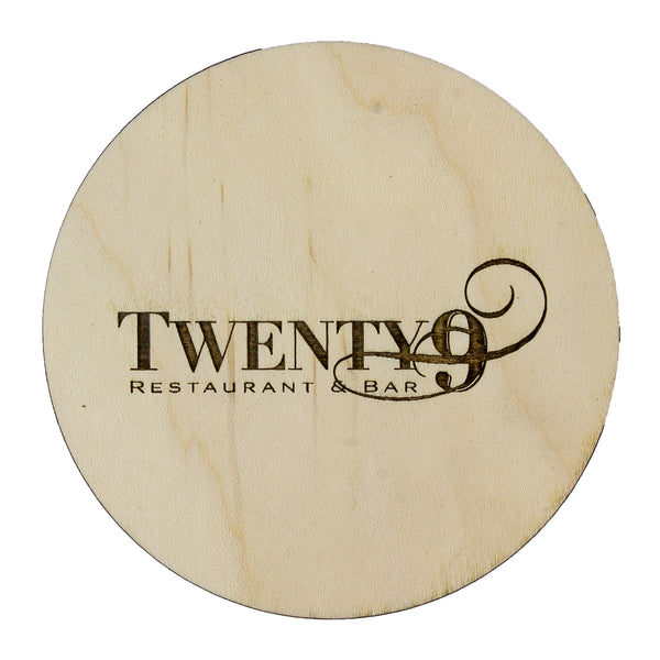 Maple coaster with branded logo. custom