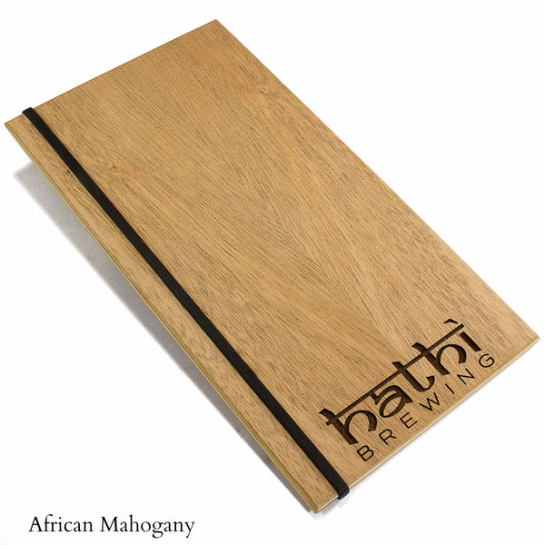Mahogany menu holder with your custom engraved logo and silicone band for holding menu book.  Available in wood veneer or acrylic laminate.