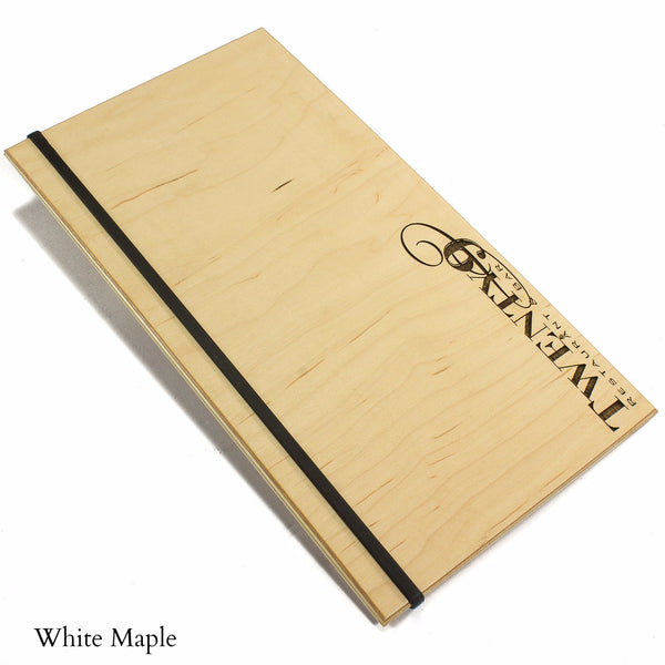 White Maple veneer menu holder with your custom engraved logo and silicone band for holding menu book.  Available in wood veneer or acrylic laminate.