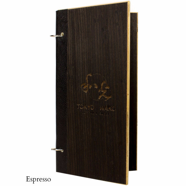 Espresso veneer menu cover with leather binding and snap rings.  Features your custom engraved logo and is available with wood veneer or acrylic laminate.