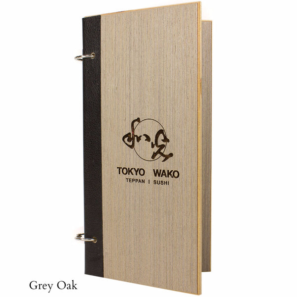 Grey Oak menu cover with black leather binding and snap rings.  Features your custom engraved logo and is available with wood veneer or acrylic laminate.