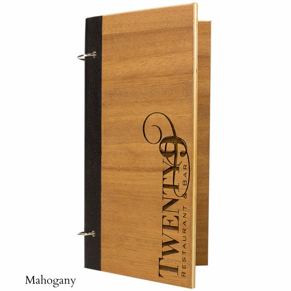 Mahogany veneer menu cover with snap rings in a black binding and laser engraved logo.
