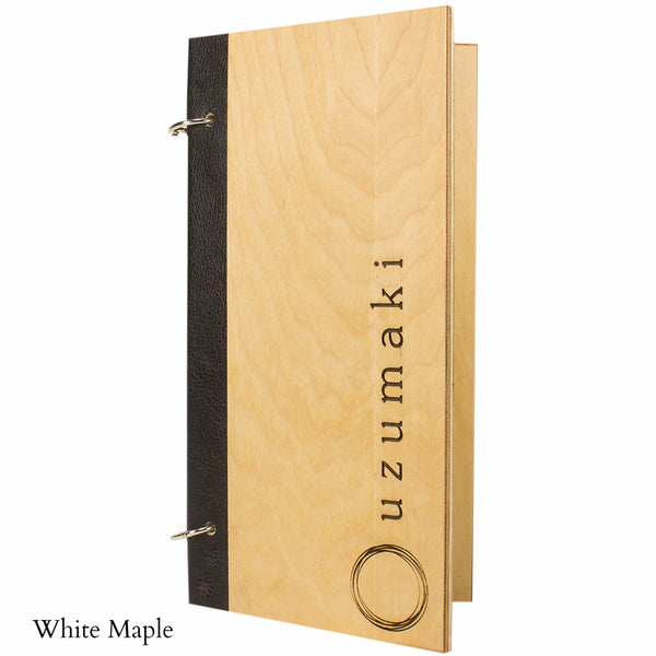 Snap ring menu cover with black binding and screw post for holding menu pages.  Has White Maple veneer and a custom logo.