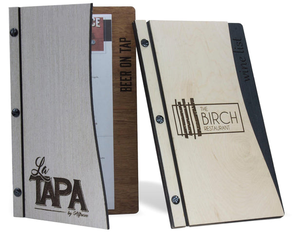 Restaurant menu covers with curved front cover and wood veneer finishes