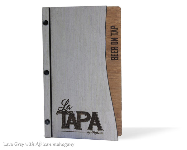 Menu Cover with Screw Post Binding and Laser Cut Front Cover - Woodberry Company