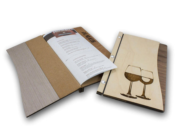 Menu Cover with Screw Post Binding and Curved Front Cover - Woodberry Company