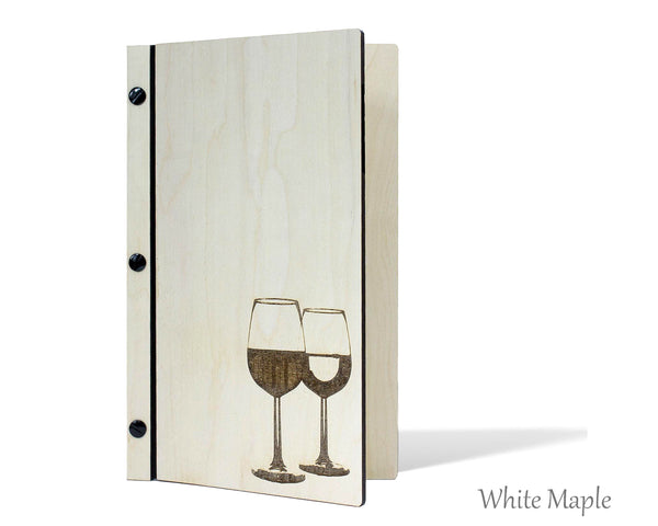 Custom menu cover with laser engraved wine glasses with white maple veneer