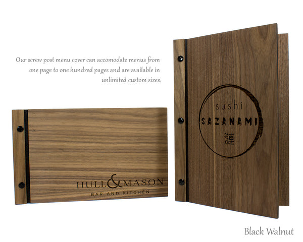 Black walnut menu cover with screw post binding and custom logo