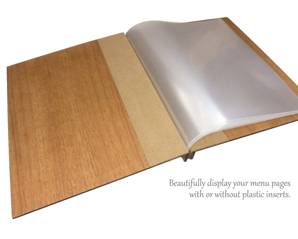 custom wood menu cover with plastic page inserts