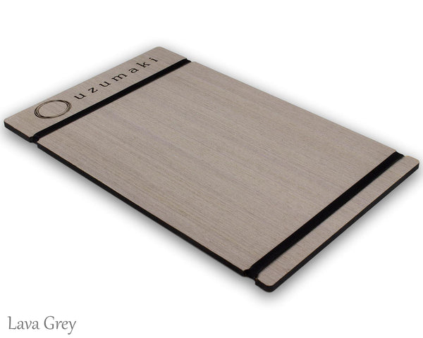 Grey Oak menu holder with custom logo and white bands for holding menu.