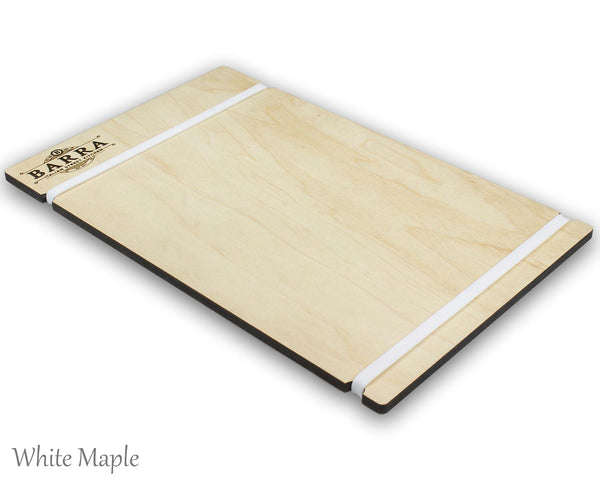 Menu holder with silicone bands and your custom engraved logo. Has white maple veneer and a custom laser engraved logo