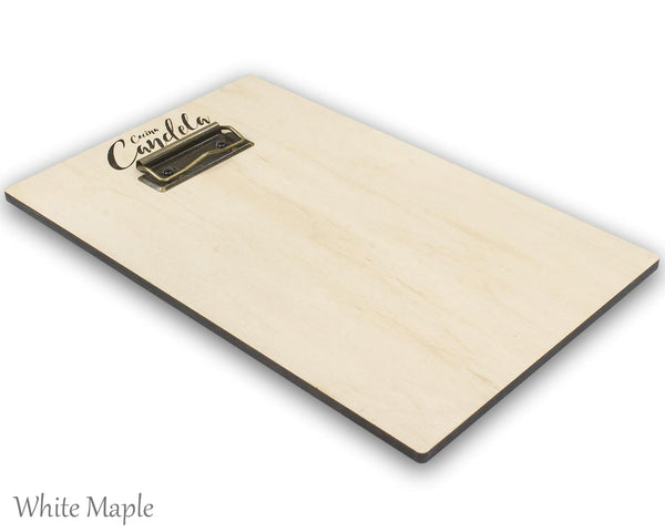 White Maple veneer on a menu holder with black low profile clip and a custom laser engraved logo on the right side.
