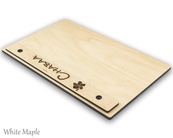 White Maple menu holder with screw post and header.  Features your custom engraved logo and is available in wood veneer or acrylic laminate.