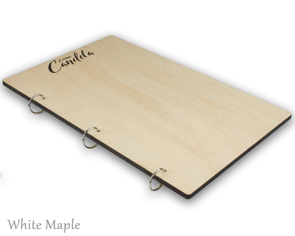 White maple menu holder with snap rings and your custom engraved logo.  Available with wood veneer or acrylic laminate.