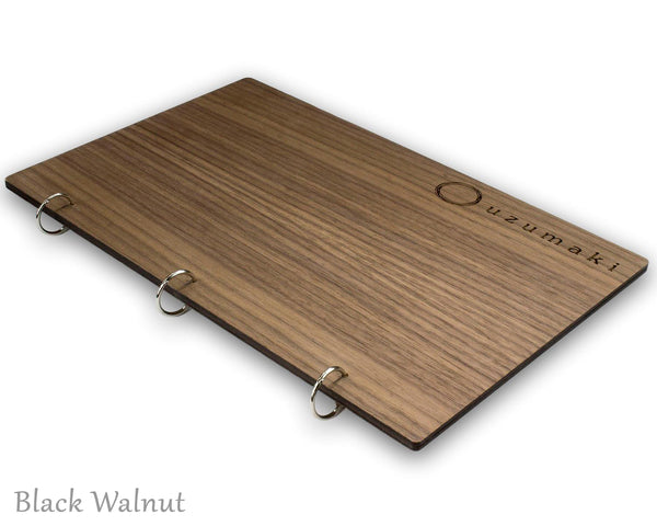 Black Walnut veneer menu holder with snap rings and your custom engraved logo on the right side.