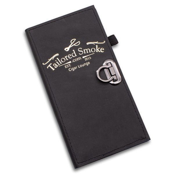 Leather check presenter book in black leather