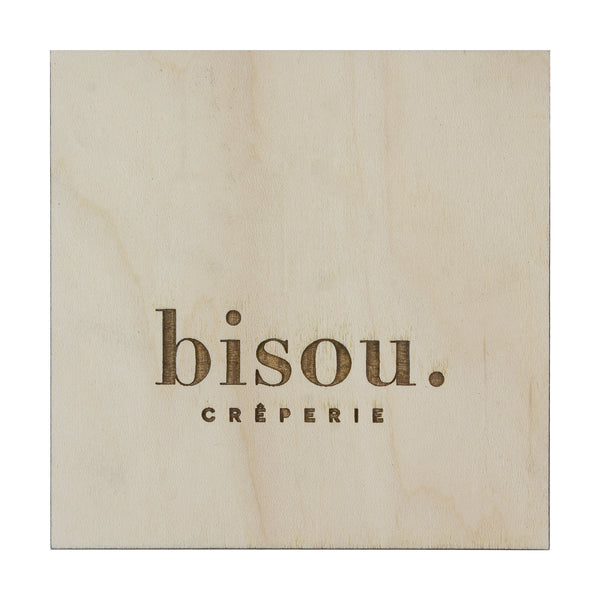 White wood custom coaster with branded logo