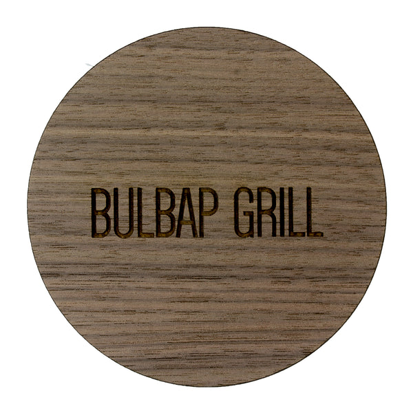 Walnut Coaster with your laser engraved logo. Round