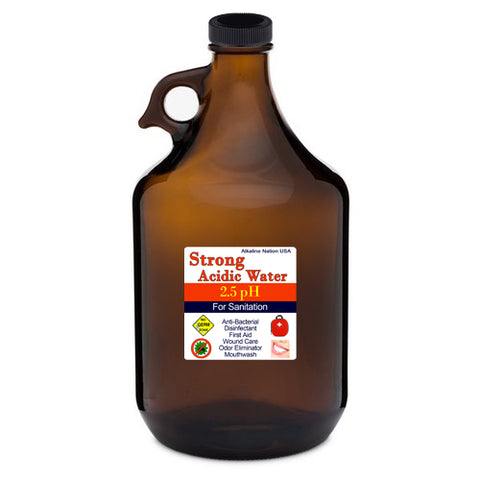 64 oz Amber Glass Bottle for (Strong Acid) Kangen Water