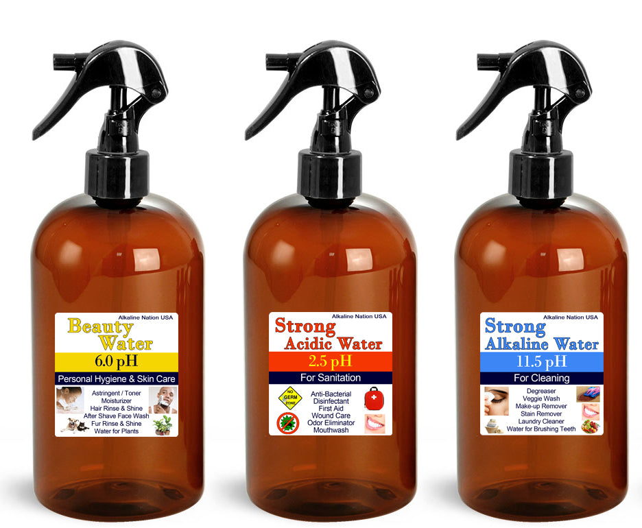 20 Sets of Amber Cleaning Bottles - 2.5pH, 11.5pH, 6.0pH - 50% Off