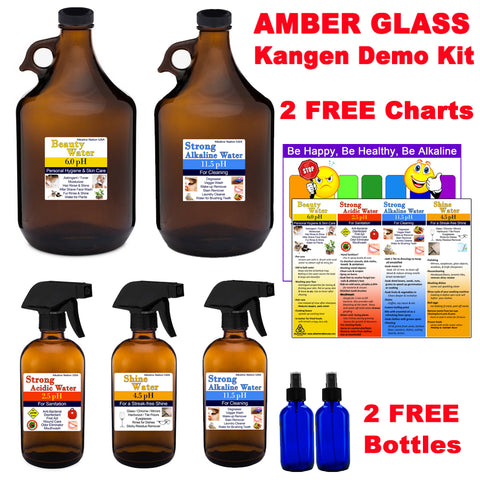 Amber Glass Kangen Water Demo Kit - 2 FREE Charts, 2 FREE Blue Spray Bottles