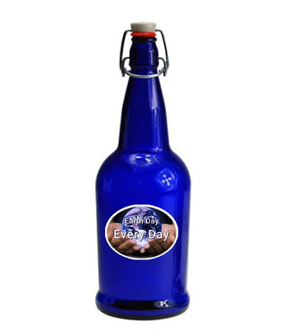 Earth Day is Every Day - 32 oz Blue Glass Bottle for Kangen Water