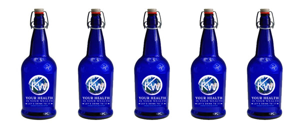 Case of 12 Blue Glass Bottles for Kangen Water - (KW Design) 50% Off