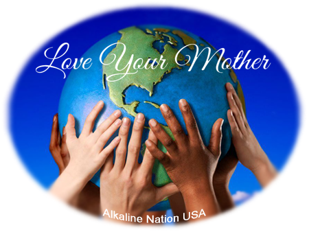 Love Your Mother (Children's Hands Holding Up The Earth) - 32 oz Blue Glass Bottle for Kangen Water