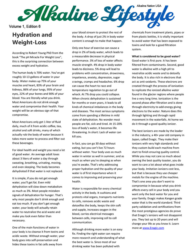 Alkaline Lifestyle Newsletter - Hydration and Weight-Loss - Volume 1, Edition 6