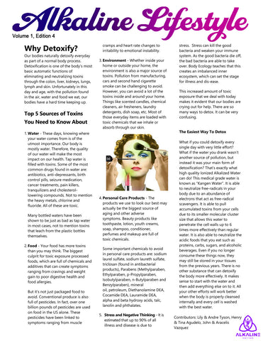 Alkaline Lifestyle Newsletter - Why Detox - Volume 1, Edition 4