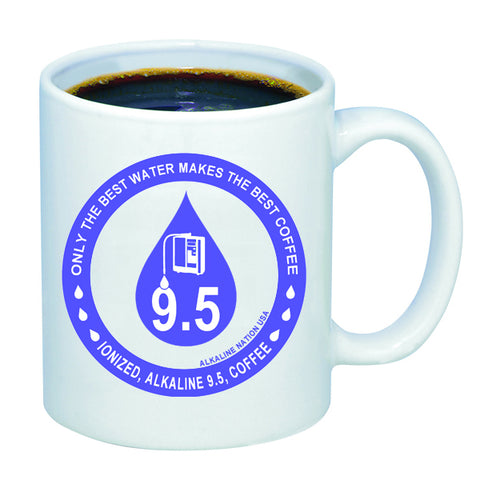 Ceramic Glass Alkaline Coffee Mug - 11 oz (The Best Water Makes The Best Coffee) *Special Offer*