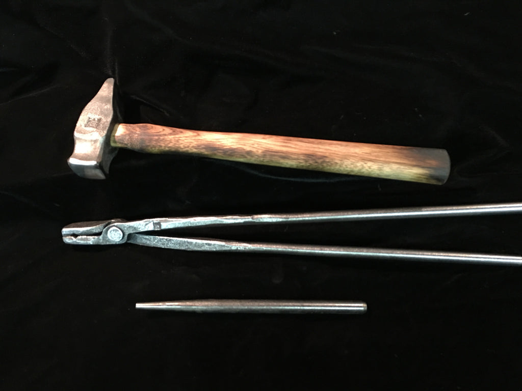 Beginners  Blacksmith Tools Package - Hammer, Tongs, Punch