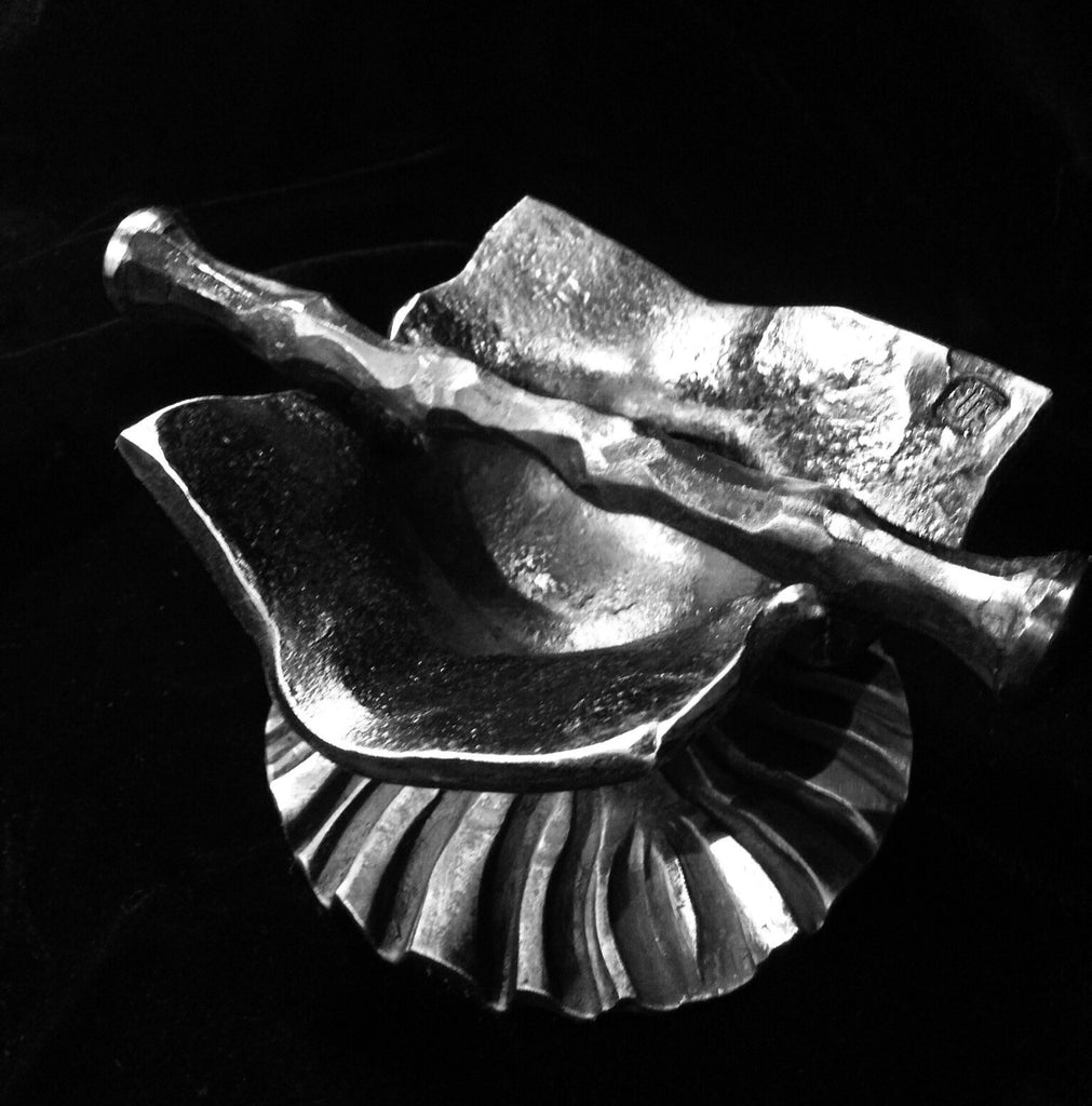 Hand forged iron mortar and pestle