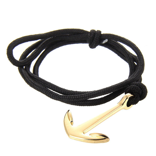 New Silver Alloy Anchor Bracelet Multilayer  Leather Risers Bracelet for Women&Men 2018