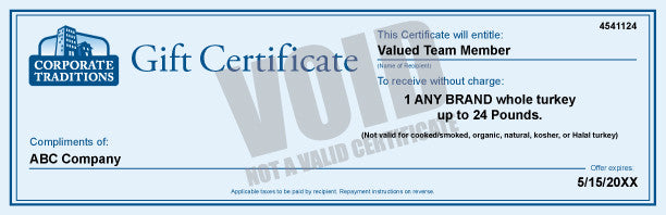 Turkey Gift Certificates - Ham Gift Certificates - Vegetable Gift Certificates