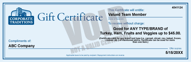 Turkey, Ham, Fruits and Veggies Gift Certificate: $45.00 Certificate 5000+ Qty