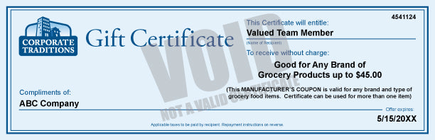 Grocery Products Gift Certificate: $45.00 Certificate 501-999 Qty