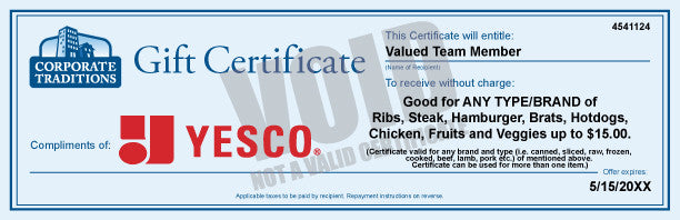 YESCO BBQ Gift Certificate: $15.00 Certificate 50-100 Qty