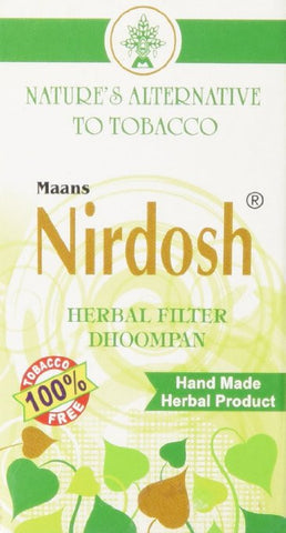 NIRDOSH HERBAL FILTER DHOOMPAN – Pack of 10 Cigs - Made with Ayurvedic Herbs