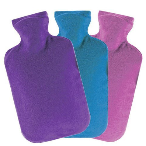 Hot Water Bottle Made of Premium Rubber, Quick Pain Relief Bottle Cover Included, 2 Liters (One Pc Assorted Colors)