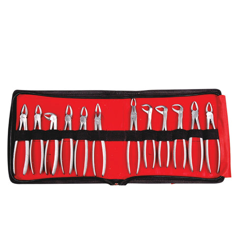 Dental Instruments Kit Extration Forceps set of 12 in pouch EFSP12